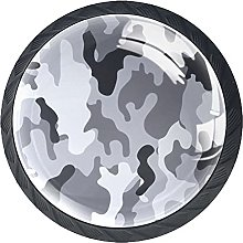 Black Gray Camouflage 4 Pieces Bar Knobs Round
