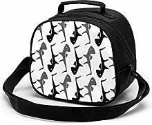 Black Gray Tuna Insulated Lunch Bag Mini Cooler
