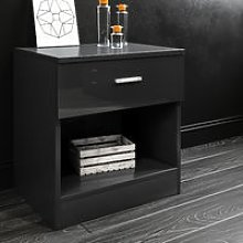 Black High Gloss Bedside Cabinet Night Stand