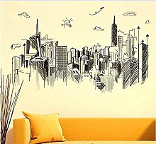 Black High-Rise Building Wall Stickers PVC