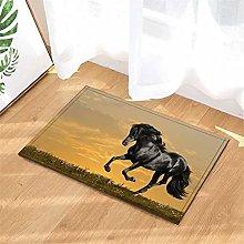 Black Horse. Door Mat Front Door Carpet Non-Slip