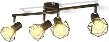 Black Industrial Style Wire Frame Spot Light with
