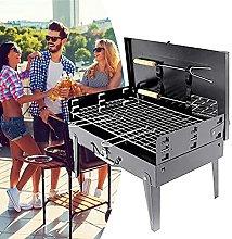 Black Iron Charcoal BBQ Grill, Portable Folding