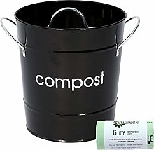 Black Kitchen Compost Caddy & 50x All-Green