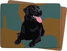 Black Labrador Table Mat by Leslie Gerry - Placema