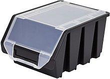 Black large plastic lidded storage bin ERGO-Box