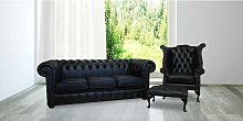 Black Leather Chesterfield suite|UK