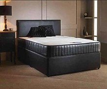 Black Leather Divan Bed with Unique Leather Memory