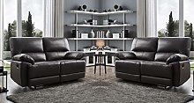 Black Leather Recliner Sofa Suite 3 Seater or 2