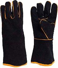 Black Leather Welder Gloves,Heat & Fire Resistant
