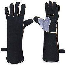 Black Leather Welder Gloves with Kevlar Stitching