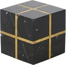 Black marble decorative cube with gold lines