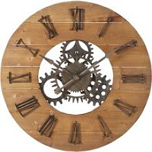 Black Metal and Fir Cog Clock D89