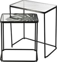 Black Metal and Glass Side Tables with Foliage