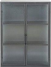 Black Metal and Reinforced Glass 2-Door Shelving