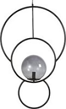 Black Metal and Tinted Glass Rings Pendant Light
