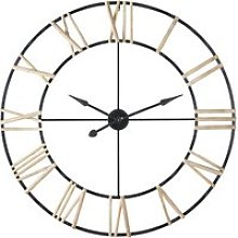Black Metal Clock with Pine Numerals D109