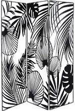 Black Metal Cut Out Room Divider with Foliage Print