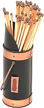 Black Metal Fireplace Match Stick Holder with