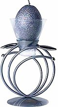 Black Metal & Glass Candle Holder, Contemporary