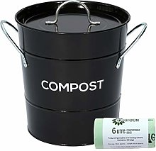 Black Metal Kitchen Compost Caddy & 50x 6L