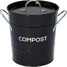 Black Metal Kitchen Compost Caddy - Composting Bin