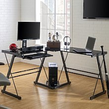Black Metal Office Corner Desk with Keyboard Tray