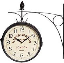 Black Metal Station Clock 42x24