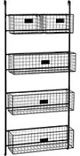Black Metal Wall Shelf Unit with 5 Removable