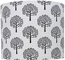 Black Mulberry Tree Linen Print Drum Lampshade (20