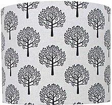 Black Mulberry Tree Linen Print Drum Lampshade (30