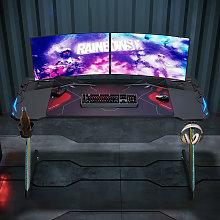 Black PC Gaming Desk with LED Lights Large