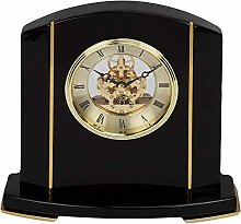 Black Piano Wood Skeleton Movement Mantel Clock