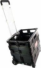 Black Plastic Folding Cart Trolley, Basket,