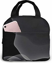 Black Portable Lunch Bag Insulated Cooler Bag for