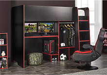 Black / Red Highsleeper Bed with Adjustable
