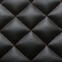 Black Red Stitch Diamond Quilted Faux Leather Car