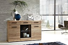 Black Red White Wide Sideboard Display Cabinet