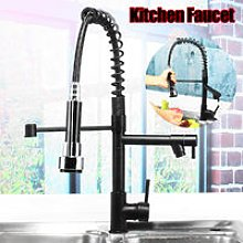Black retractable spray head mixer tap ORB kitchen
