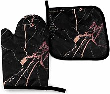 Black Rose Gold Marble Oven Mitts and Pot