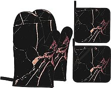 Black Rose Gold Marble Oven Mitts and Pot Holders