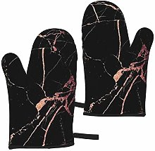 Black Rose Gold Marble Oven Mitts Set of 2 Heat