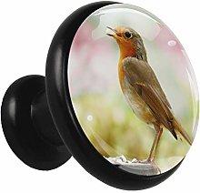 Black Round Cabinet Knobs Animal Bird Handles and