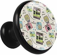 Black Round Cabinet Knobs Cartoon Camera Handles