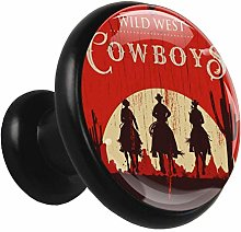 Black Round Cabinet Knobs Cowboy Horse Handles and