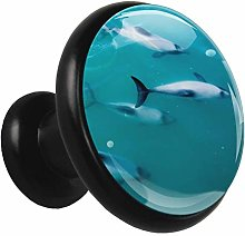Black Round Cabinet Knobs Dolphin Handles and