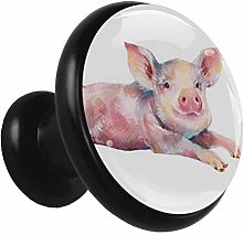 Black Round Cabinet Knobs Pink Pig Handles and