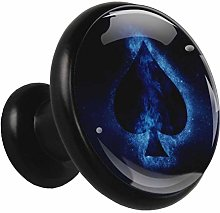 Black Round Cabinet Knobs Spades Blue Handles and