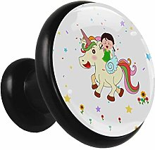 Black Round Cabinet Knobs Unicorn Girl Handles and