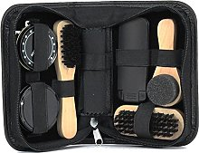 Black Shoe Shine Cleaning Kit 7pc in Travel Bag
